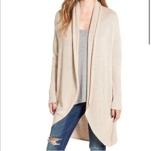 Leith Beige Shawl Collar Cocoon Sweater Size S